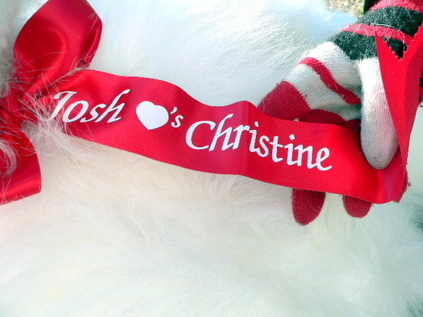 Personalized Giant Stuffed White Fluffy Gorilla Monkey with Custom Personalized Ribbon Around it's Neck - 40-inches tall -Made in the USA