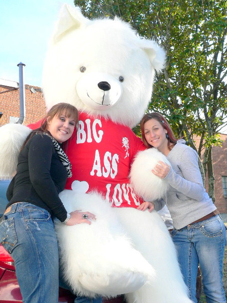American Made 8 Foot Soft White Giant Teddy Bear Tshirt Says BIG ASS LOVE