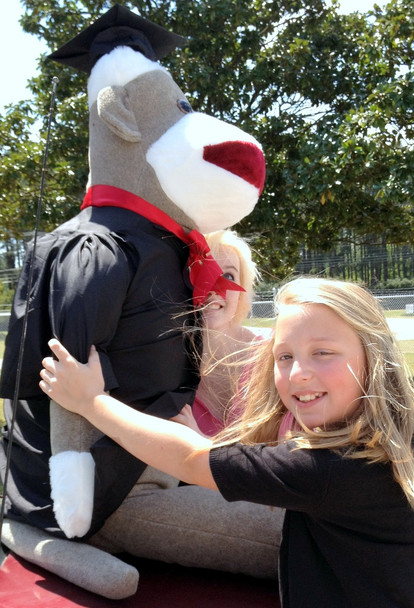 72 Inch Big Plush Giant Graduation Sock Monkey 6 Feet Tall wearing Graduation Cap and Gown MADE IN THE USA