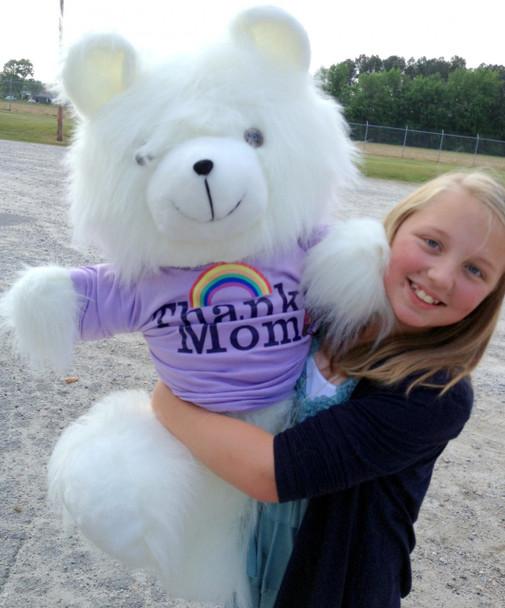 American Made Giant Teddy Bear 36 Inch Soft White, Wears THANKS MOM Tshirt
