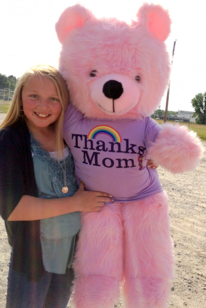 Giant Pink Teddy Bear 45 Inches Soft, Wears Removable T-shirt Thanks Mom Made in USA