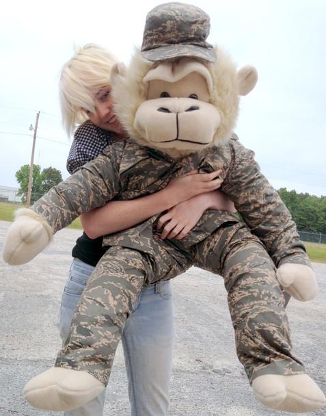 Giant Stuffed  Monkey 40 Inches Wearing U.S. Air Force ABU Military Uniform Jacket, Pants and Patrol Cap