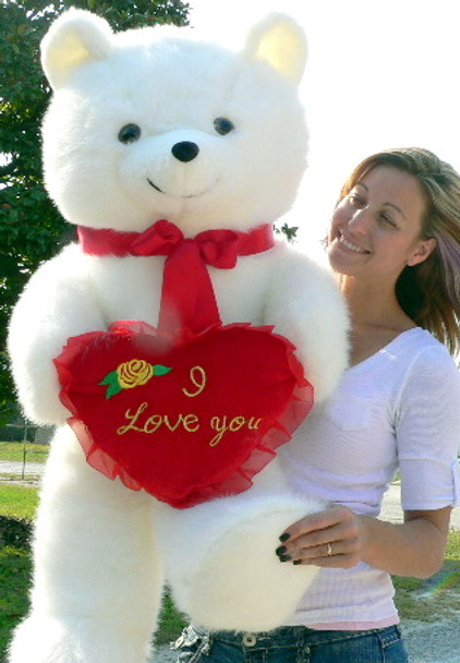 American Made Giant White Teddy Bear Holding I Love You Heart Pillow 42 Inches Soft