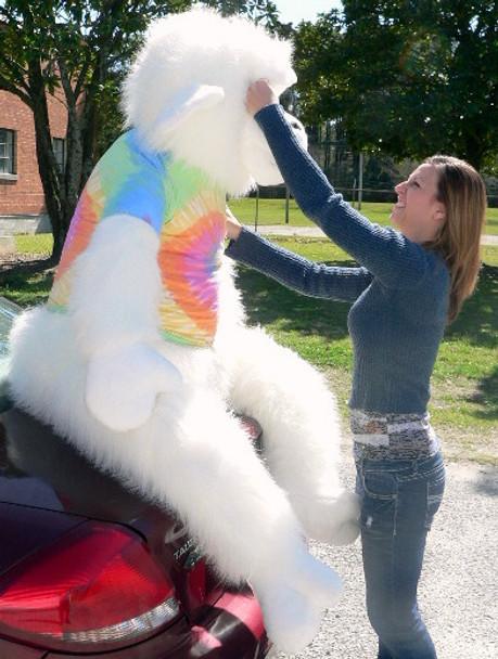 American Made Giant Stuffed White Gorilla 6 Foot Soft Big Plush Monkey Wears Rainbow Tie Dye T-Shirt