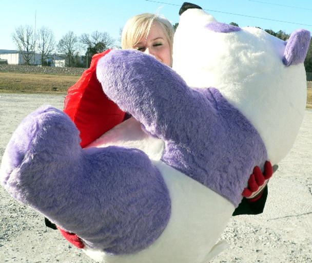 American Made Giant Stuffed Purple Panda Bear 32-inch, Holds I LOVE YOU Heart Pillow, Made in USA