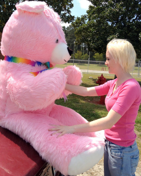 American Made Giant 6 Foot Teddy Bear Pink Soft Huge Plush Animal Made in the USA America