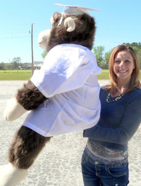 Giant Stuffed Monkey Gorilla 40-inches Tall wearing White Graduation Gown and Cap