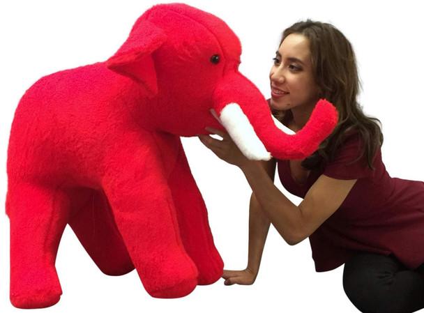 American Made Large Stuffed Red Elephant 36 Inch Big Plush Animal Made in USA America
