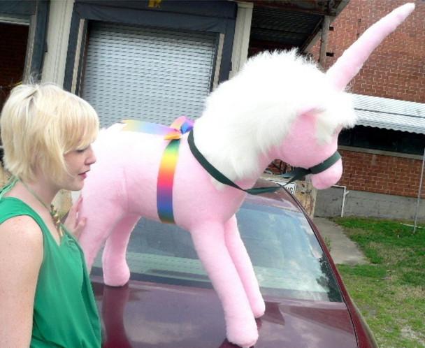 American Made Giant Stuffed Pink Unicorn 3 Feet Wide Soft Made in USA America