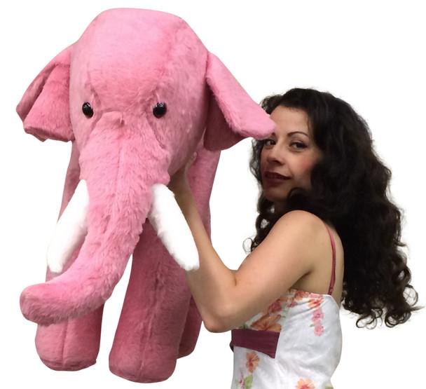 American Made Giant Stuffed Pink Elephant 3 Feet Long Soft Large Stuffed Animal