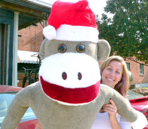 American Made Giant Sock Monkey Dressed for Christmas 6 Feet Tall wearing Santa Hat Stuffed Soft Made in the USA