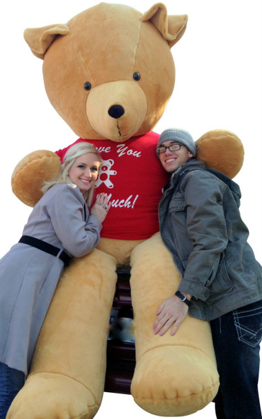 American Made 8 Foot Teddy Bear Golden Brown 96 Inch Giant Teddybear, T-shirt says I LOVE YOU THIS MUCH