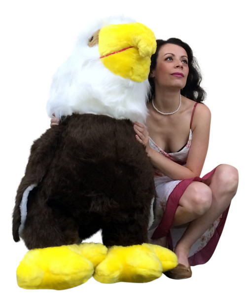 American Made 3 Foot Giant Stuffed Eagle 36 Inch Soft Brown Big Plush Bird Made in USA