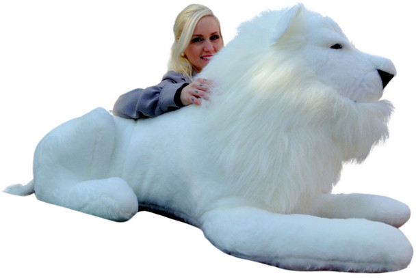American Made Giant Stuffed White Lion 48 Inches Soft Made in USA America