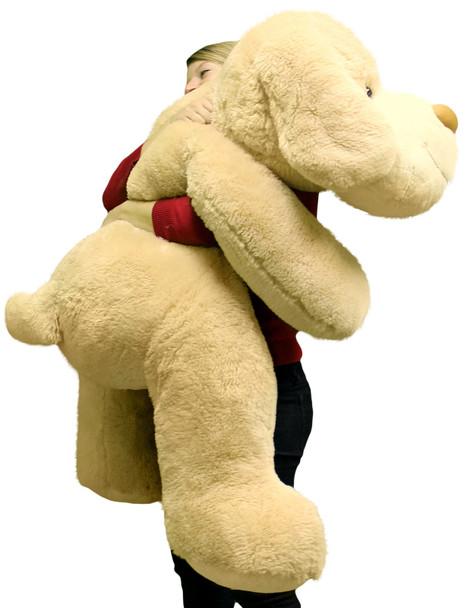 Giant Stuffed Puppy Dog 5 Feet Long Squishy Soft Extremely Large Plush Cream Color