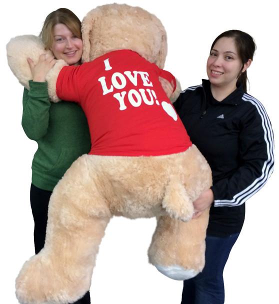 I Love You Giant Stuffed Puppy Dog 5 Foot Soft Wears I LOVE YOU T-Shirt Big Plush Cream Color