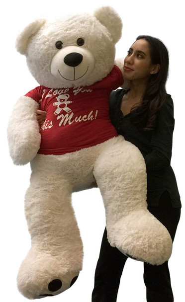 Giant Teddy Bear 52 Inch Soft White Wears Removable Tshirt I LOVE YOU THIS MUCH