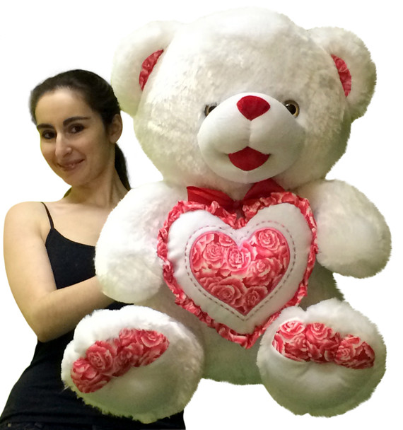 Big Plump and Soft Teddy Bear 30 Inches White Color Holding Red and White Floral Design Plush Heart Pillow