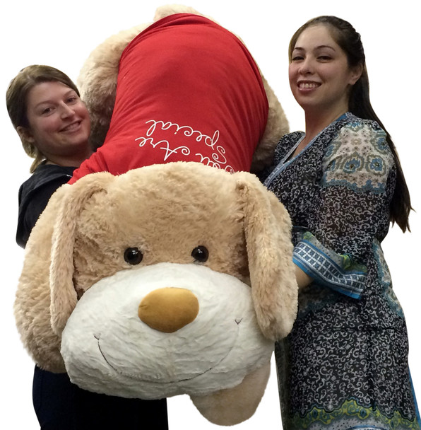 Giant Valentine's Day Plush Puppy 60 Inch Huge Soft 5 Foot Stuffed Dog Wears Removable T-Shirt You Are Special