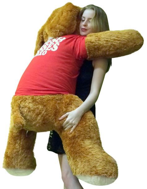 Big Plush Dog Huge 5 Foot Long Valentine's Day Giant Stuffed Animal Soft Wears HUGS AND KISSES XO XO T-Shirt