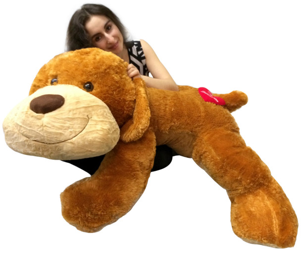 Personalized Giant Stuffed Dog 5 Feet Long Soft and Romantic, Customized with 2 Names on Heart