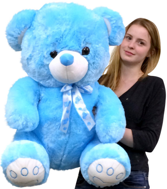 Giant Blue Teddy Bear 30 Inch Soft with Embroidered Paws Big Plush Animal