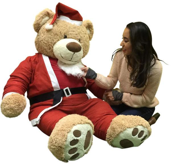 Giant Christmas Teddy Bear 60 Inch Soft, Wears Santa Claus Suit 5 Foot Xmas Teddybear Tan