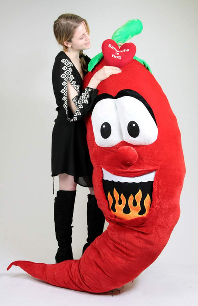 Custom Personalized Giant Stuffed Hot Chili Pepper 6 Feet Tall , Custom Imprinted (Fill in Name) is Hot