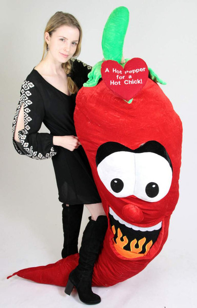 6ft Giant Stuffed Red Hot Pepper for a Hot Chick - Embroidered Heart Says A HOT PEPPER FOR A HOT CHICK