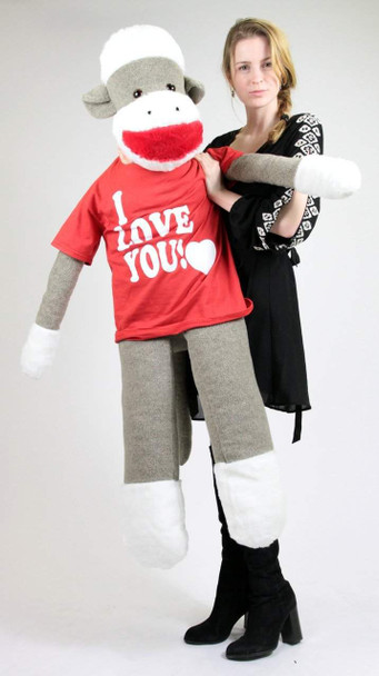 American Made Big Plush Giant Sock Monkey 54 Inch Soft Wears Removable T-shirt I LOVE YOU
