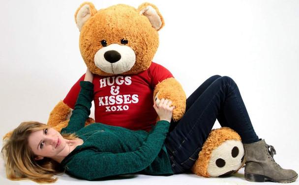 Big Plush Giant Valentine Teddy Bear Five Feet Tall Honey Brown Color Wears Tshirt that says HUGS AND KISSES XOXO