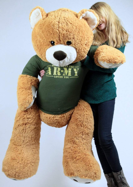 United States Army Big Plush Giant Teddy Bear Five Feet Tall Honey Brown Color Wears Tshirt that says SOMEONE IN THE ARMY LOVES YOU