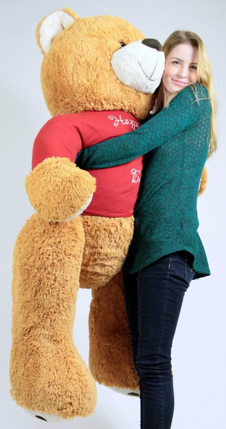 Big Plush Giant Valentine Teddy Bear Five Feet Tall Honey Brown Color Wears Tshirt that says HAPPY VALENTINES DAY