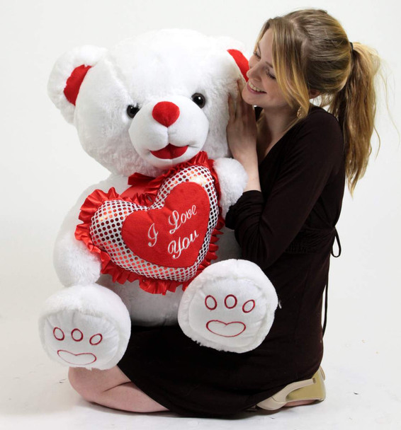 Big Plush White Soft Teddy Bear 30 Inch Romantic Holds I LOVE YOU Heart Pillow