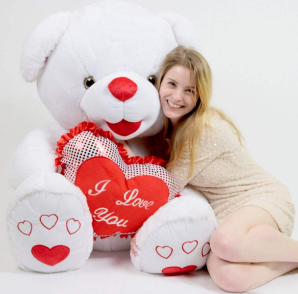 Romantic Giant White Teddy Bear 40 inch Soft with Big Plush I LOVE YOU Heart