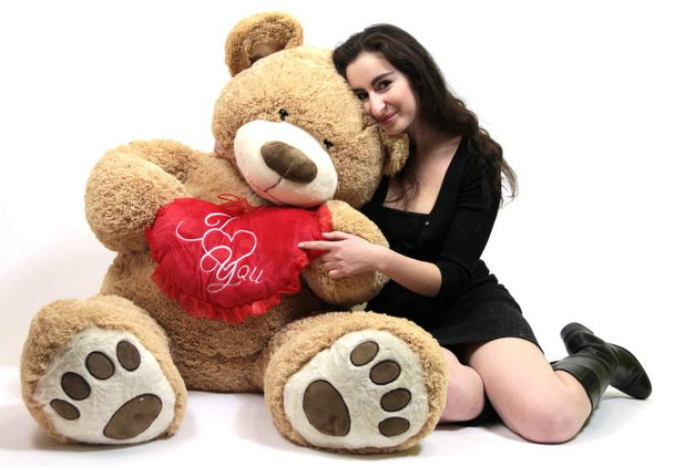 I Love ❤ You 5 Foot Giant Teddy Bear Valentine's Day Soft Holds Big Plush Heart Embroidered I ❤ YOU