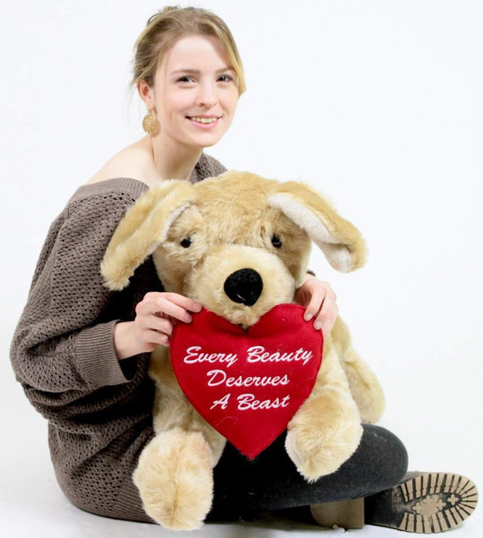 Big Plush® Giant Stuffed Dog 48 inch Soft Romantic Golden Labrador Retriever with Heart that reads Every Beauty Deserves a Beast