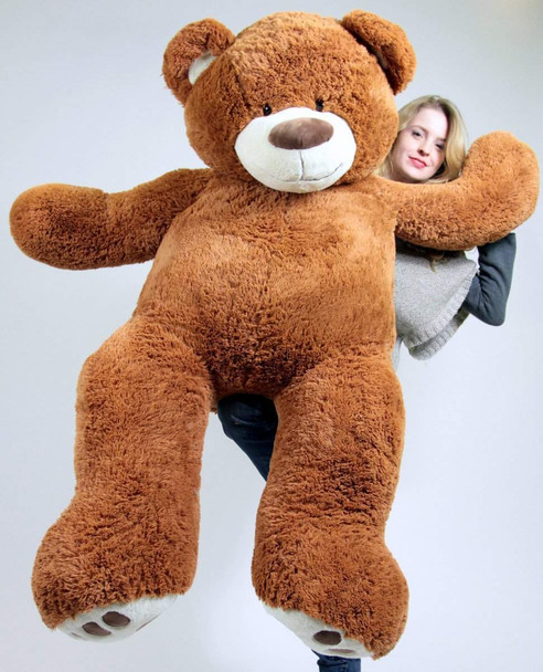 5 Foot Very Big Smiling Teddy Bear Five Feet Tall Caramel Color with Bigfoot Paws Giant Stuffed Animal Bear