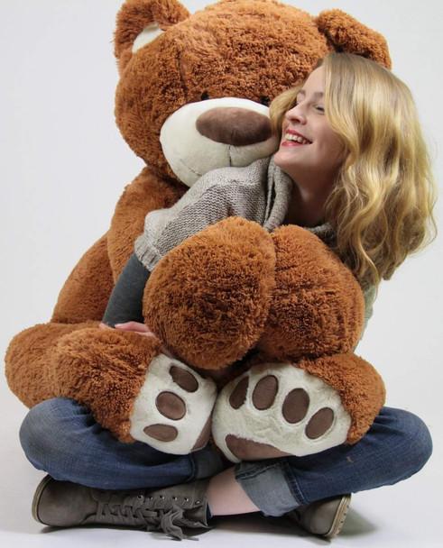 5 Foot Very Big Smiling Teddy Bear Five Feet Tall Caramel Color with Bigfoot Paws Giant Stuffed Animal Bear