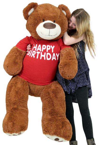Happy Birthday 5 Foot Big Plush Giant Teddy Bear Soft Cinnamon Color Wears Tshirt