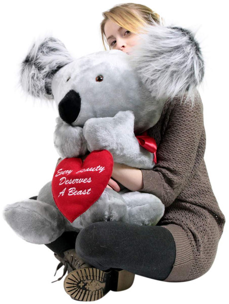 American Made Romantic Large Stuffed Koala 26 inch Soft Holds Heart EVERY BEAUTY DESERVES A BEAST