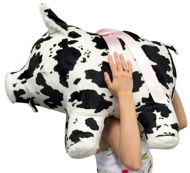 American Made Giant Stuffed Pig 27 inch Soft Black and White Big Plush Hog Farm Animal