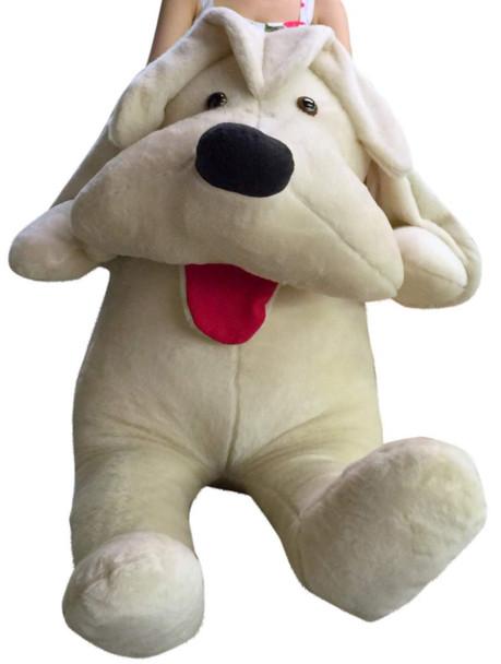 American Made Big Plush Puppy 60 Inch Soft, 5 Foot Beige Giant Stuffed Dog