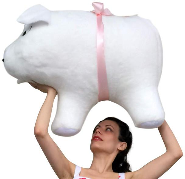 American Made Giant Stuffed Pig 32 Inch Soft White Big Plush Hog Farm Animal