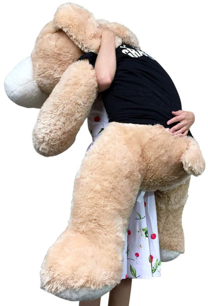 Big Plush Happy Graduation Giant Stuffed Puppy Dog 5 Foot Soft Cream Color