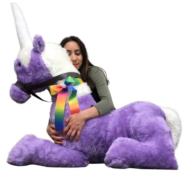 American Made Purple Giant Stuffed Unicorn Soft 4 Feet Wide, 3 Feet Tall