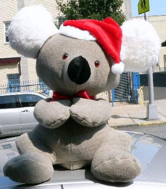 American Made Big Stuffed Koala Bear 26 Inch Soft Wears Christmas Santa Hat