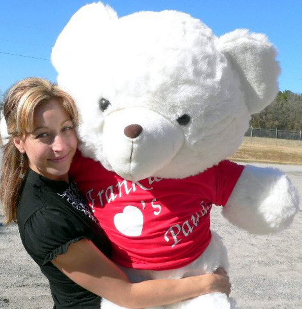 Personalized 54 Inch Teddy Bear Wears Personalized Tshirt Imprinted His Name Loves Her Name