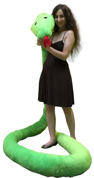 American Made Giant Stuffed Snake 18 Feet Long Soft Green Big Plush Serpent