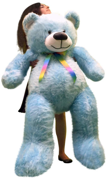 5 Foot American Made Sky Blue Color Giant Teddy Bear 62 Inches Soft Made in USA